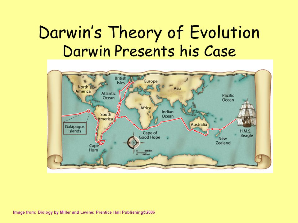 Darwin's Theory of Evolution Darwin Presents his Case Image from: Biology by Miller and Levine; Prentice Hall Publishing©2006