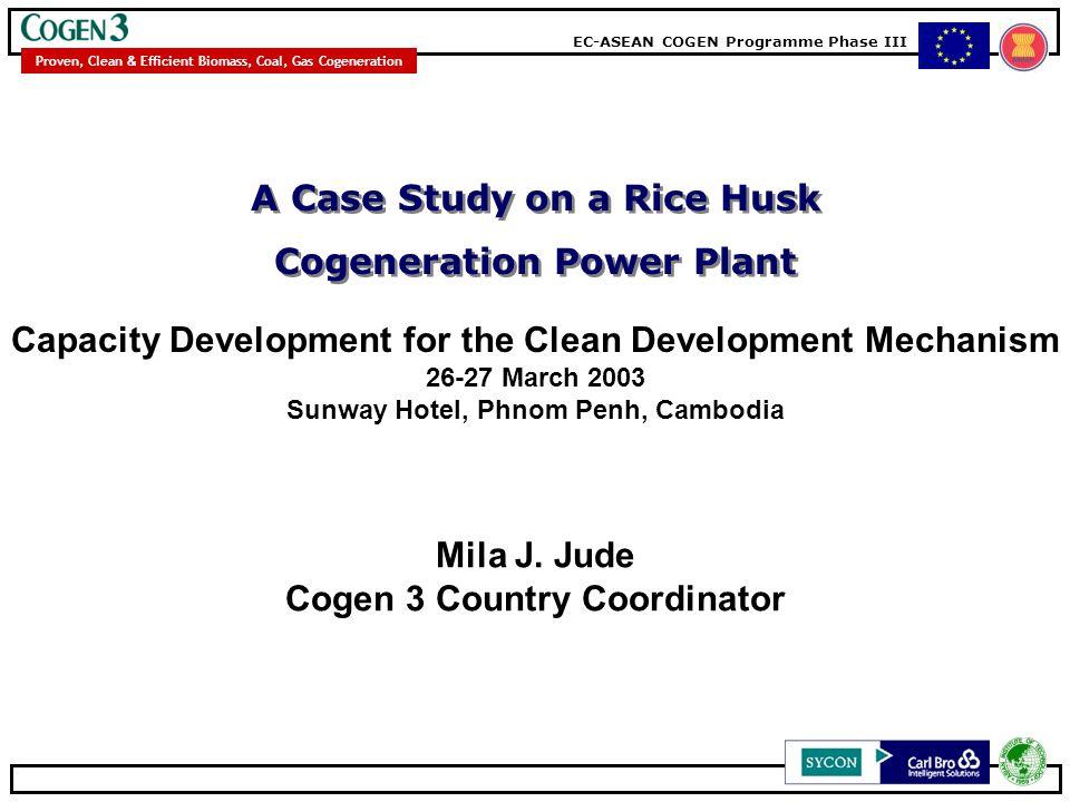 EC-ASEAN COGEN Programme Phase III Proven, Clean & Efficient Biomass, Coal, Gas Cogeneration A Case Study on a Rice Husk Cogeneration Power Plant Presentation Outline Cogen3 Programme Cogeneration: How Does It Work.