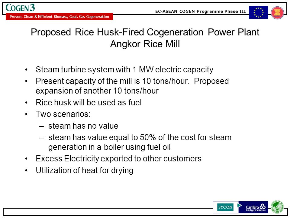 EC-ASEAN COGEN Programme Phase III Proven, Clean & Efficient Biomass, Coal, Gas Cogeneration Proposed Rice Husk-Fired Cogeneration Power Plant Angkor