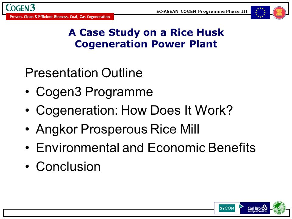 EC-ASEAN COGEN Programme Phase III Proven, Clean & Efficient Biomass, Coal, Gas Cogeneration A Case Study on a Rice Husk Cogeneration Power Plant Pres