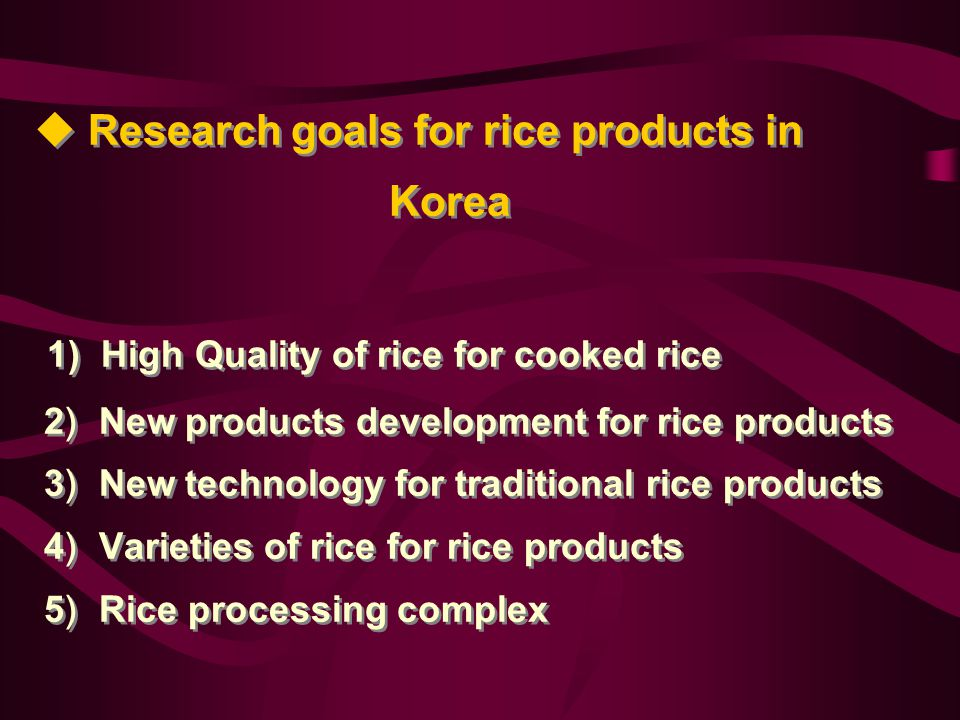  Rice processing companies Rice cake and noodle companies (136 companies, using 44,000tons) Rice cracker (37 companies, 7,000tons) Rice flour (20 companies, 10,000tons) Rice brewing(165companies, 21,000tons) Rice candy (12 companies, 3,000tons) Others