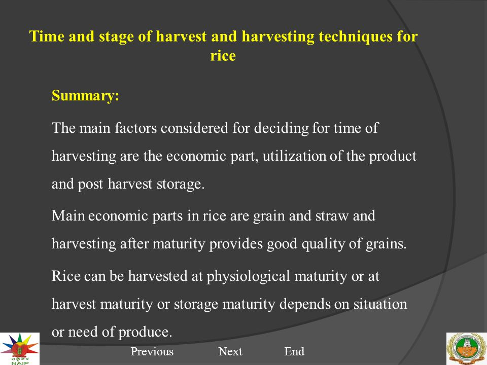 Time and stage of harvest and harvesting techniques for rice Summary: The main factors considered for deciding for time of harvesting are the economic part, utilization of the product and post harvest storage.