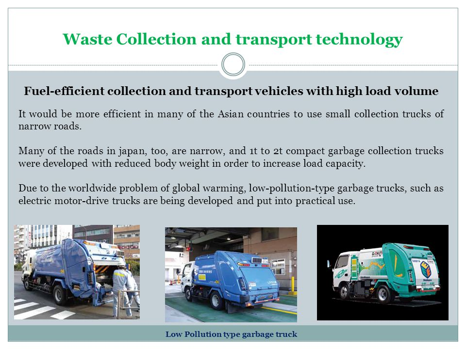 Waste Collection and transport technology Fuel-efficient collection and transport vehicles with high load volume Low Pollution type garbage truck It w