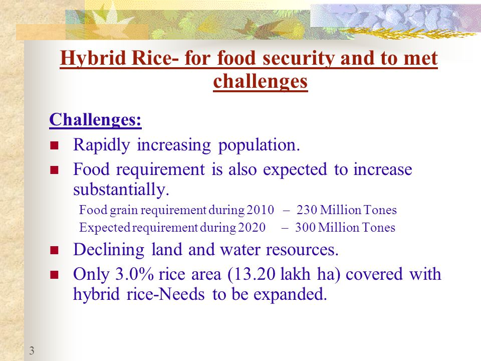 Hybrid Rice- for food security and to met challenges Challenges: Rapidly increasing population.