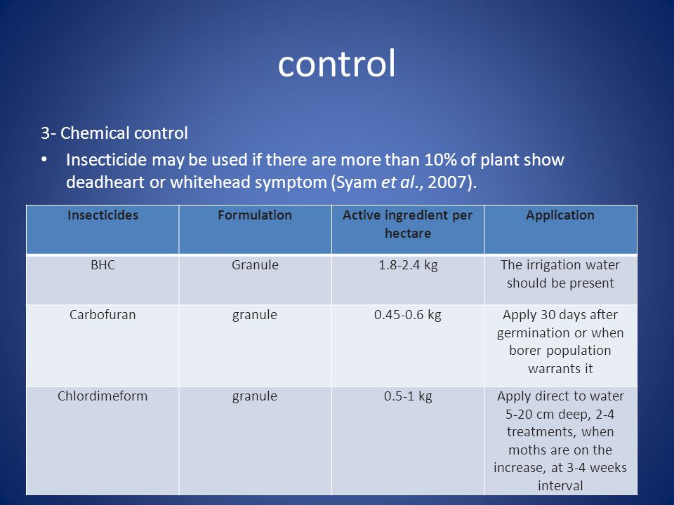 control 3- Chemical control Insecticide may be used if there are more than 10% of plant show deadheart or whitehead symptom (Syam et al., 2007).