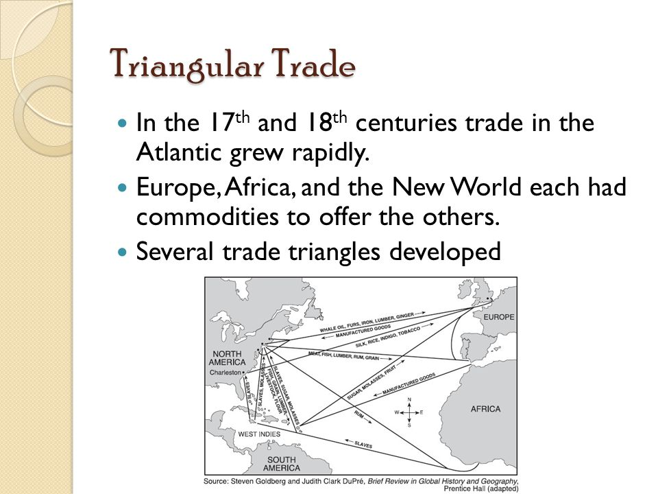 Triangular Trade In the 17 th and 18 th centuries trade in the Atlantic grew rapidly.
