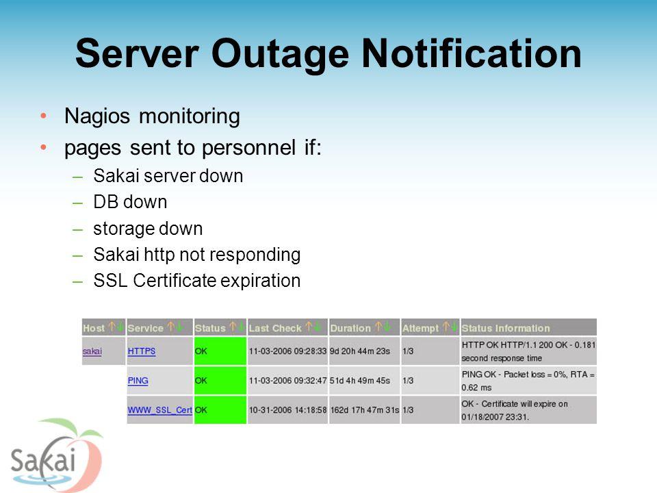 Server Outage Notification Nagios monitoring pages sent to personnel if: –Sakai server down –DB down –storage down –Sakai http not responding –SSL Certificate expiration