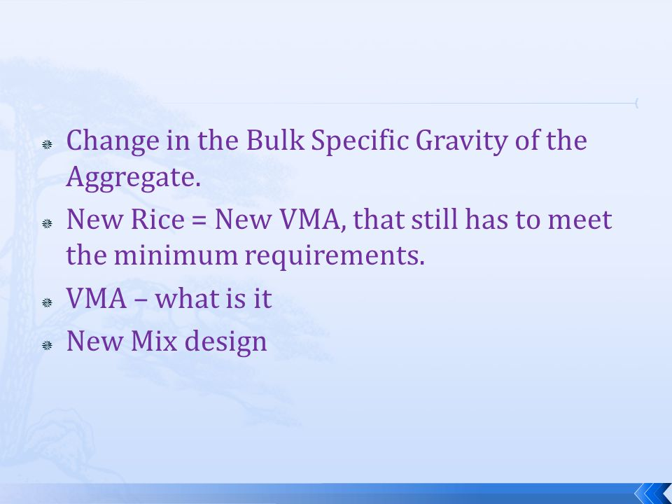  Change in the Bulk Specific Gravity of the Aggregate.