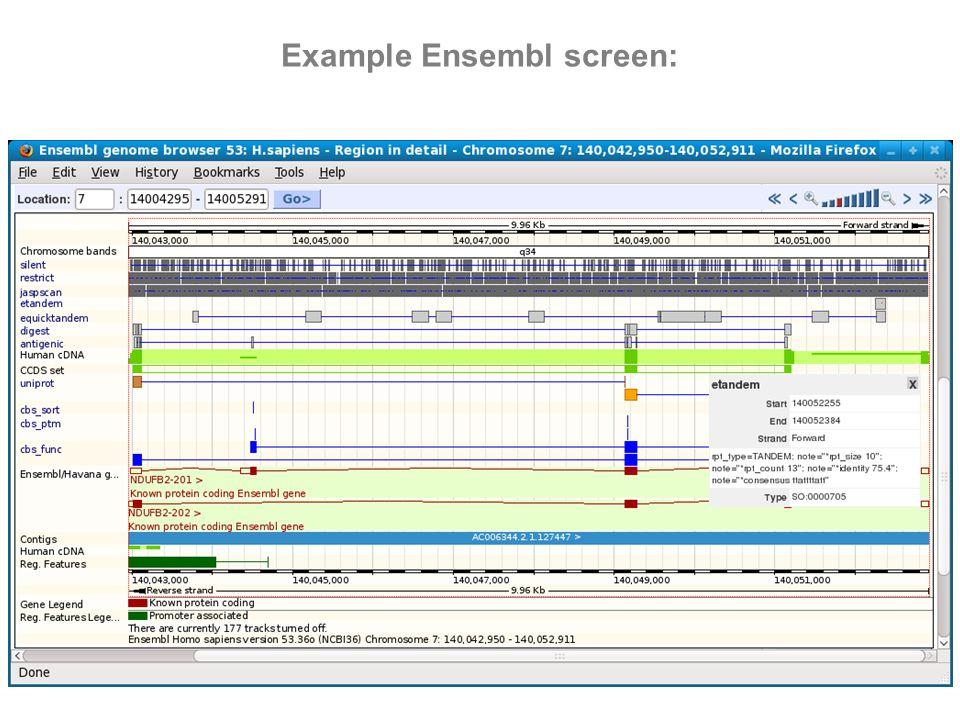 Example Ensembl screen: