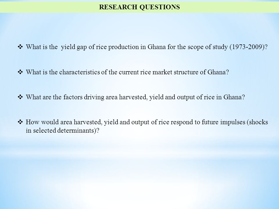  What is the yield gap of rice production in Ghana for the scope of study (1973-2009).
