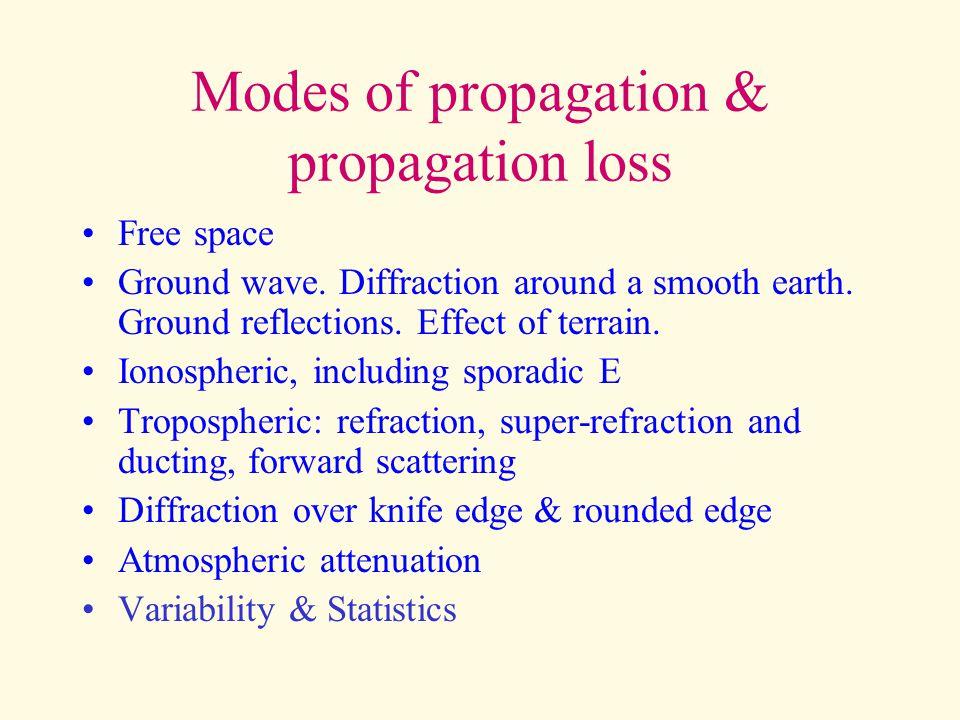 Free space propagation EIRP (watts) to pfd (w/m^2) = P/(4.pi.D^2) – equivalent to (dBW –11 -20.log(D)) EIRP (watts) to E (V/m) = sqrt(30.P)/D EIRP (kW) to E (V/m) = 173*sqrt(P)/Dkm Also: pfd (W/m^2)=E^2/Z0=E^2/(120.pi)