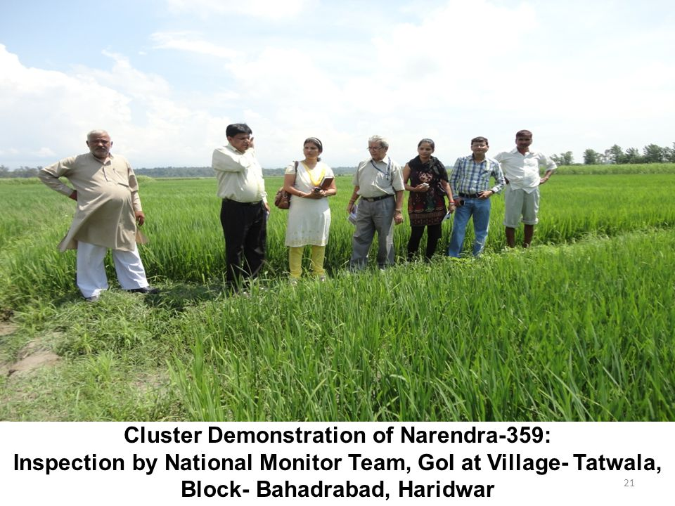21 Cluster Demonstration of Narendra-359: Inspection by National Monitor Team, GoI at Village- Tatwala, Block- Bahadrabad, Haridwar
