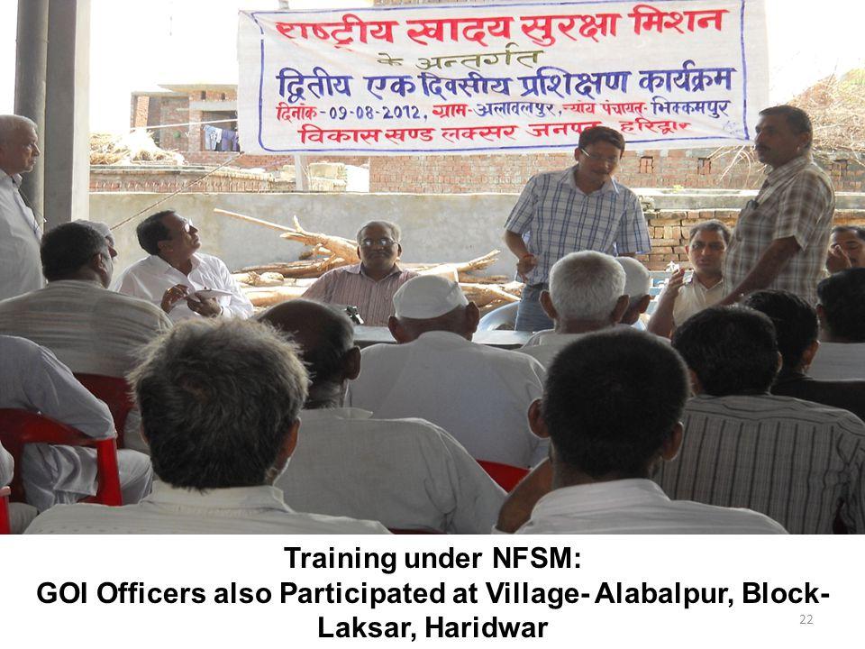 22 Training under NFSM: GOI Officers also Participated at Village- Alabalpur, Block- Laksar, Haridwar