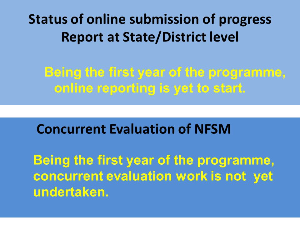 Concurrent Evaluation of NFSM Being the first year of the programme, concurrent evaluation work is not yet undertaken.