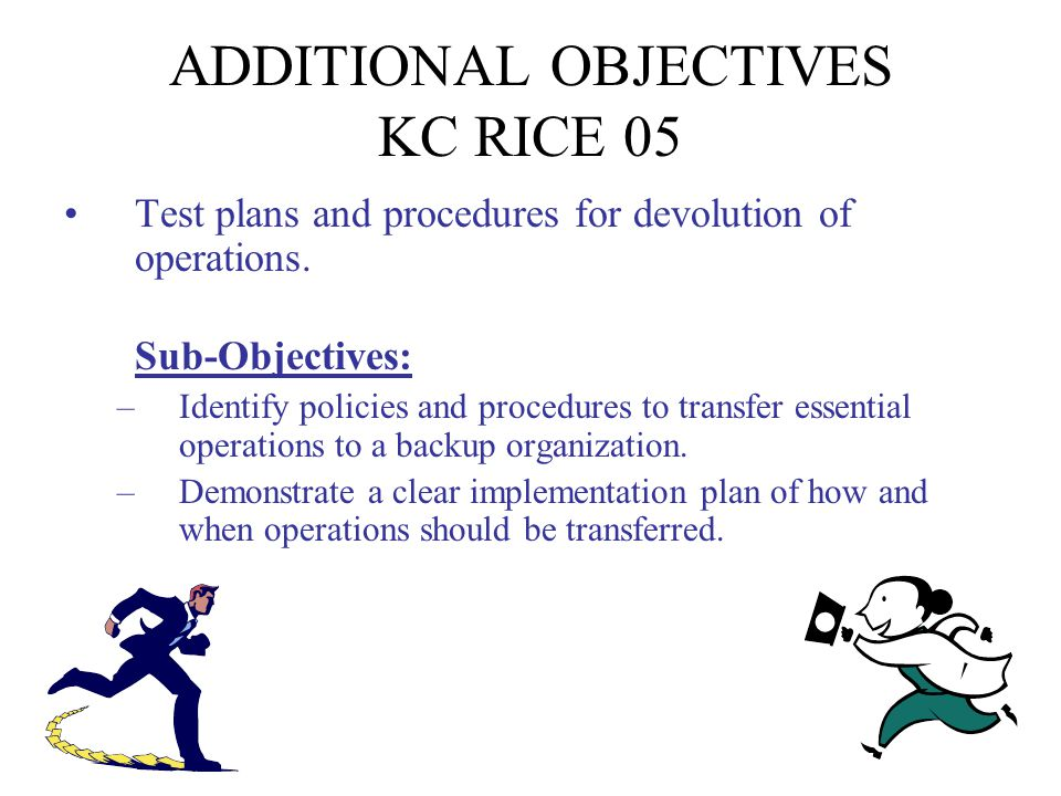 ADDITIONAL OBJECTIVES KC RICE 05 Test plans and procedures for reconstitution and return to normal operations.