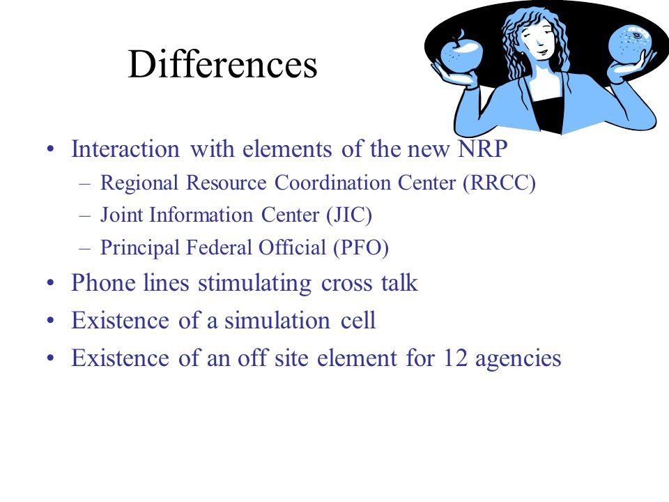 Differences Interaction with elements of the new NRP –Regional Resource Coordination Center (RRCC) –Joint Information Center (JIC) –Principal Federal Official (PFO) Phone lines stimulating cross talk Existence of a simulation cell Existence of an off site element for 12 agencies