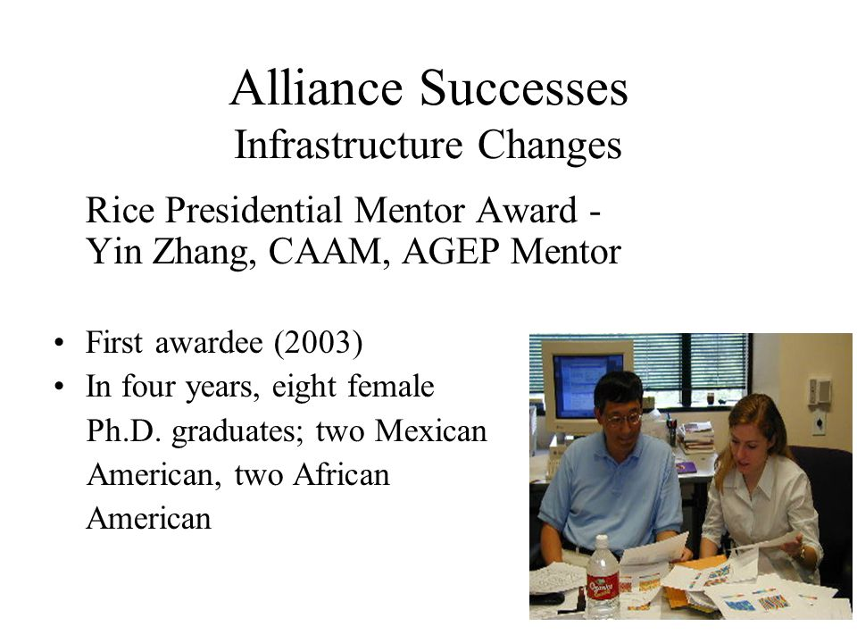 13 Alliance Successes Infrastructure Changes Rice Presidential Mentor Award - Yin Zhang, CAAM, AGEP Mentor First awardee (2003) In four years, eight female Ph.D.