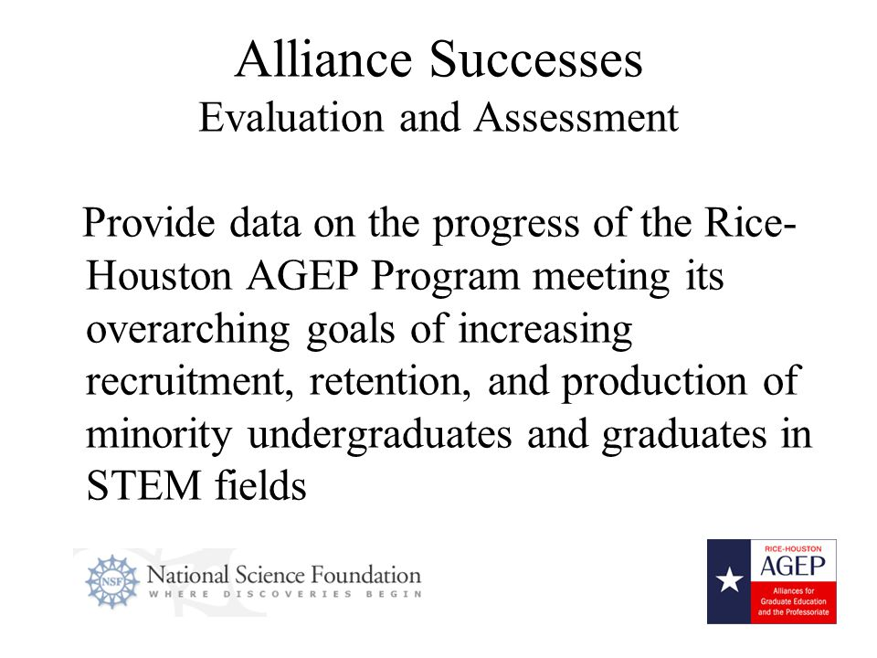 14 Alliance Successes Evaluation and Assessment Provide data on the progress of the Rice- Houston AGEP Program meeting its overarching goals of increasing recruitment, retention, and production of minority undergraduates and graduates in STEM fields