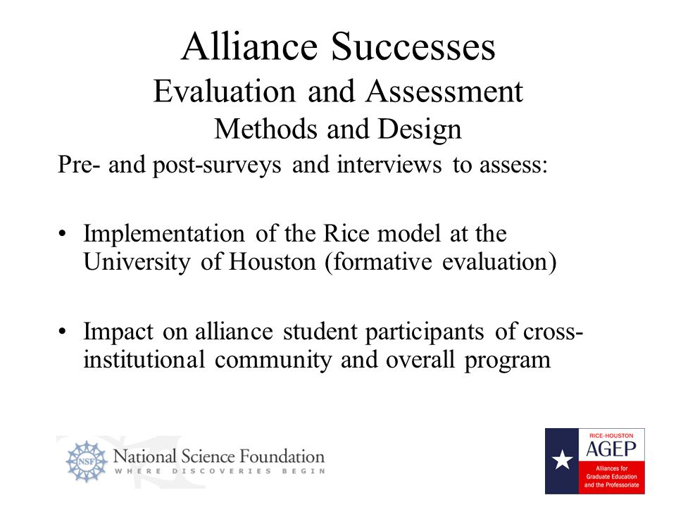 15 Alliance Successes Evaluation and Assessment Methods and Design Pre- and post-surveys and interviews to assess: Implementation of the Rice model at