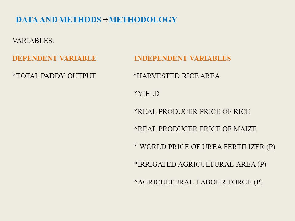 DATA AND METHODS ⇒ METHODOLOGY VARIABLES: DEPENDENT VARIABLE INDEPENDENT VARIABLES *TOTAL PADDY OUTPUT *HARVESTED RICE AREA *YIELD *REAL PRODUCER PRIC