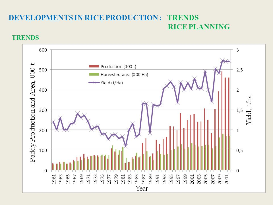 DEVELOPMENTS IN RICE PRODUCTION : TRENDS RICE PLANNING TRENDS