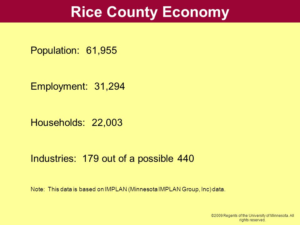 Rice County Economy Population: 61,955 Employment: 31,294 Households: 22,003 Industries: 179 out of a possible 440 Note: This data is based on IMPLAN