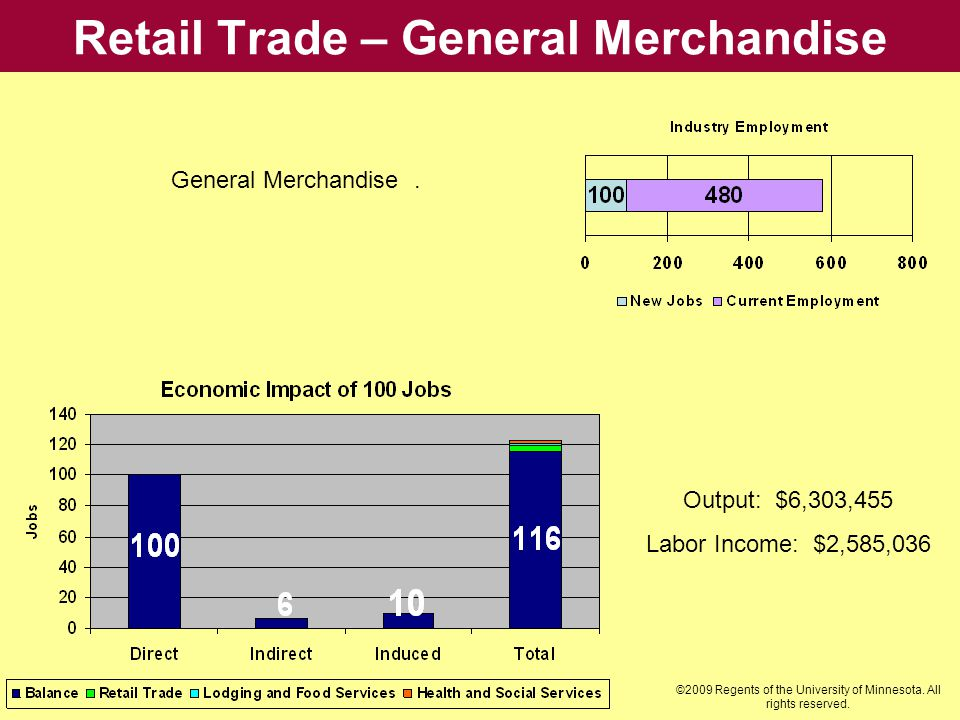 Retail Trade – General Merchandise Output: $6,303,455 Labor Income: $2,585,036 General Merchandise. ©2009 Regents of the University of Minnesota. All