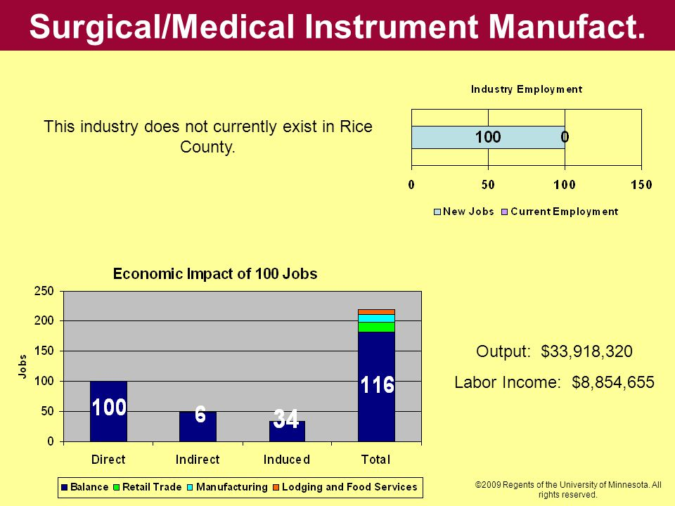 Surgical/Medical Instrument Manufact. Output: $33,918,320 Labor Income: $8,854,655 This industry does not currently exist in Rice County. ©2009 Regent