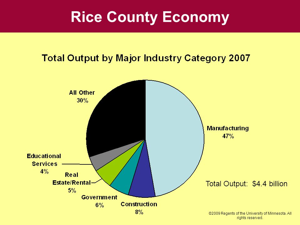 Rice County Economy Total Output: $4.4 billion ©2009 Regents of the University of Minnesota. All rights reserved.