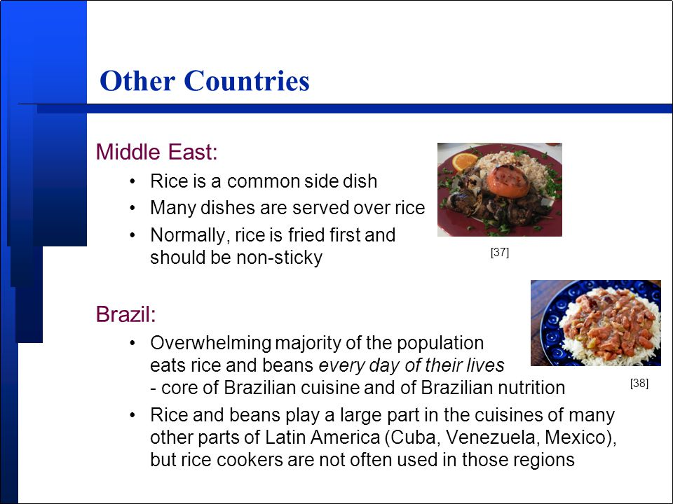 Middle East: Rice is a common side dish Many dishes are served over rice Normally, rice is fried first and should be non-sticky Brazil: Overwhelming majority of the population eats rice and beans every day of their lives - core of Brazilian cuisine and of Brazilian nutrition Rice and beans play a large part in the cuisines of many other parts of Latin America (Cuba, Venezuela, Mexico), but rice cookers are not often used in those regions Other Countries [37] [38]