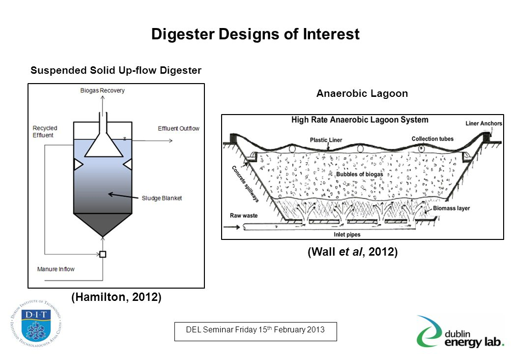 (Hamilton, 2012) Digester Designs of Interest DEL Seminar Friday 15 th February 2013 Suspended Solid Up-flow Digester Anaerobic Lagoon (Wall et al, 20
