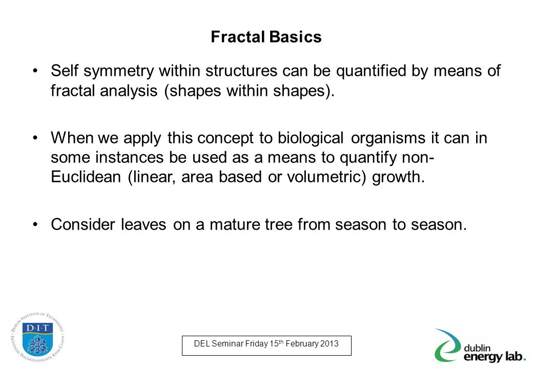 Fractal Basics Self symmetry within structures can be quantified by means of fractal analysis (shapes within shapes). When we apply this concept to bi