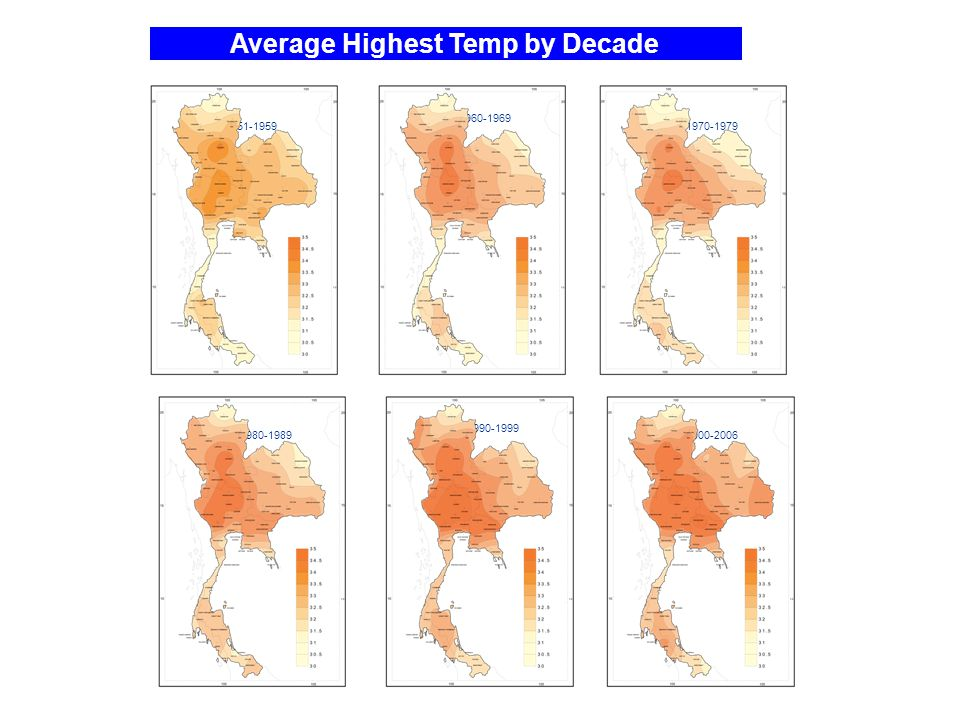 Average Highest Temp by Decade 1951-1959 1960-1969 2000-2006 1990-1999 1980-1989 1970-1979