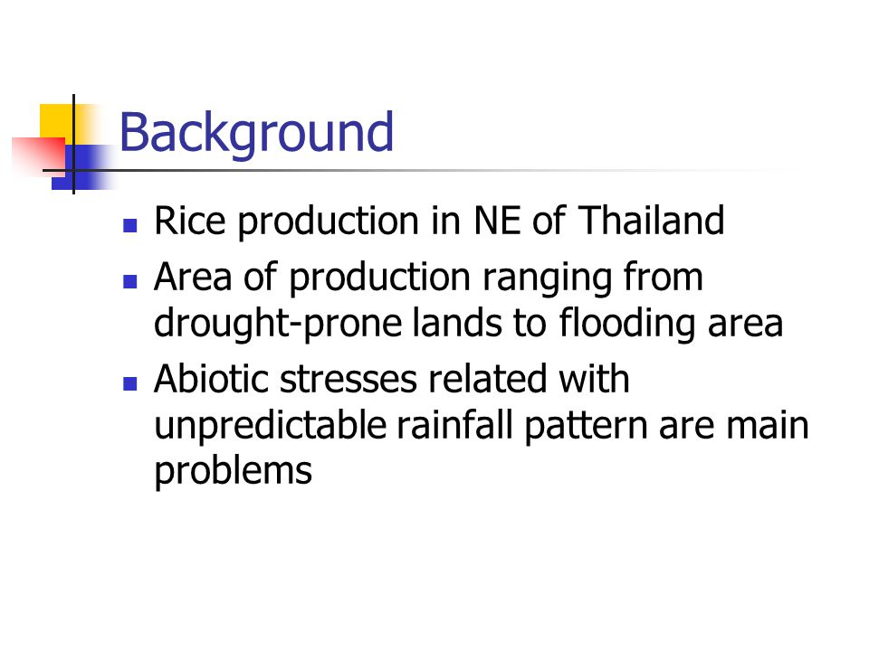 Background Rice production in NE of Thailand Area of production ranging from drought-prone lands to flooding area Abiotic stresses related with unpredictable rainfall pattern are main problems