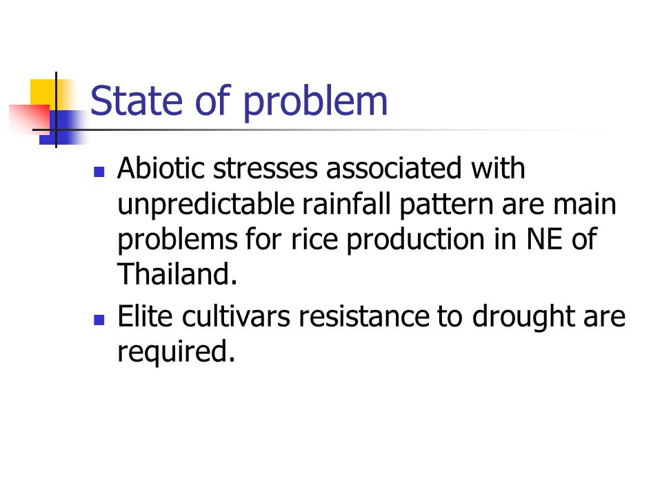 State of problem Abiotic stresses associated with unpredictable rainfall pattern are main problems for rice production in NE of Thailand.