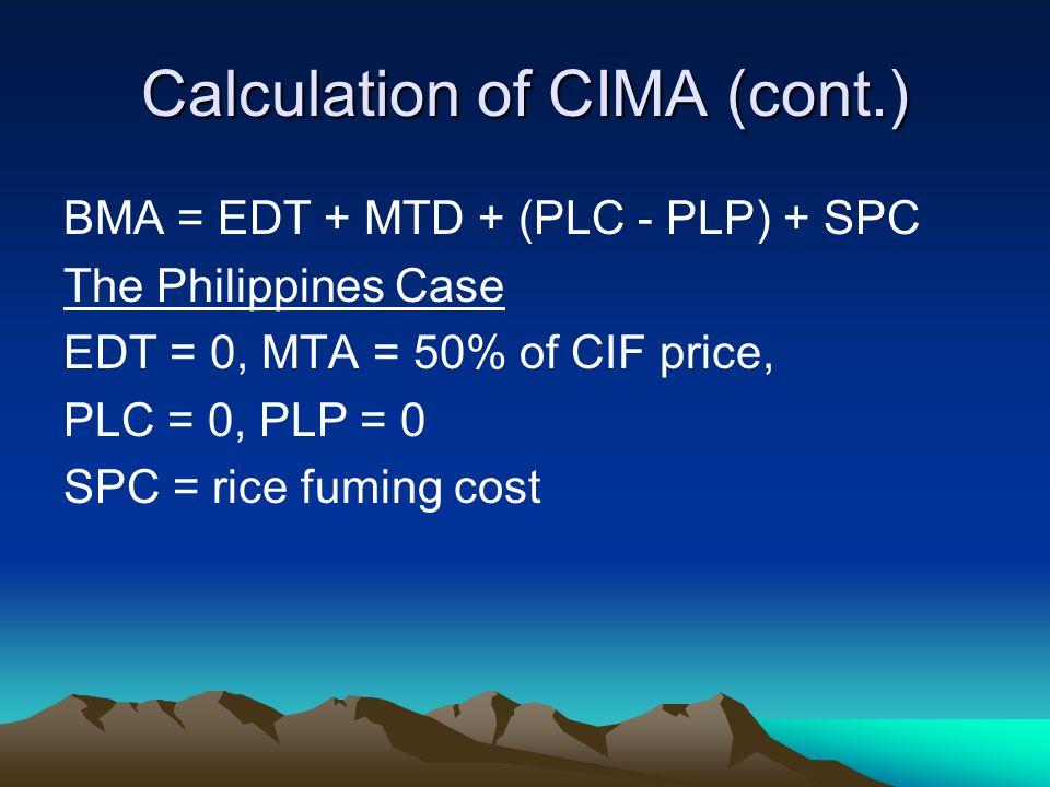 Calculation of CIMA (cont.) BMA = EDT + MTD + (PLC - PLP) + SPC The Philippines Case EDT = 0, MTA = 50% of CIF price, PLC = 0, PLP = 0 SPC = rice fuming cost