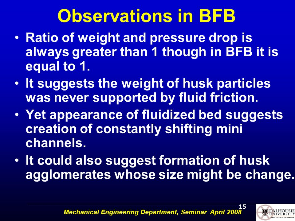 15 Observations in BFB Ratio of weight and pressure drop is always greater than 1 though in BFB it is equal to 1.