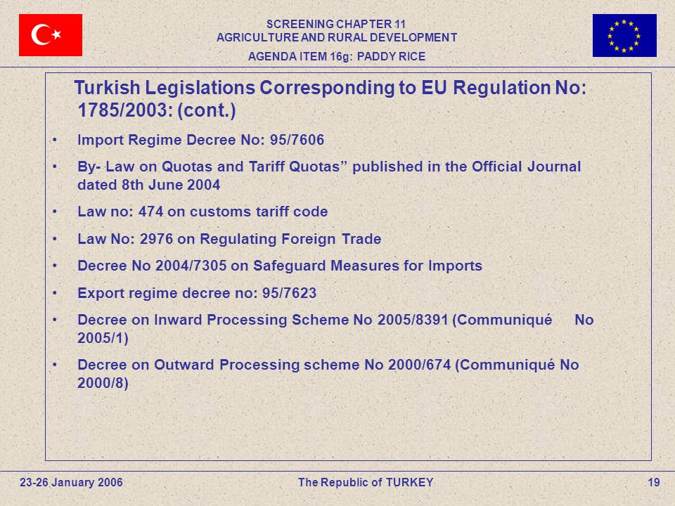 19The Republic of TURKEY23-26 January 2006 Turkish Legislations Corresponding to EU Regulation No: 1785/2003: (cont.) Import Regime Decree No: 95/7606 By- Law on Quotas and Tariff Quotas published in the Official Journal dated 8th June 2004 Law no: 474 on customs tariff code Law No: 2976 on Regulating Foreign Trade Decree No 2004/7305 on Safeguard Measures for Imports Export regime decree no: 95/7623 Decree on Inward Processing Scheme No 2005/8391 (Communiqué No 2005/1) Decree on Outward Processing scheme No 2000/674 (Communiqué No 2000/8) SCREENING CHAPTER 11 AGRICULTURE AND RURAL DEVELOPMENT AGENDA ITEM 16g: PADDY RICE