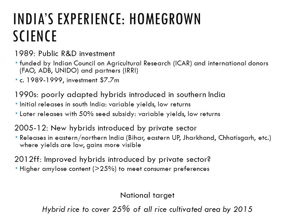 INDIA'S EXPERIENCE: HOMEGROWN SCIENCE 1989: Public R&D investment  funded by Indian Council on Agricultural Research (ICAR) and international donors