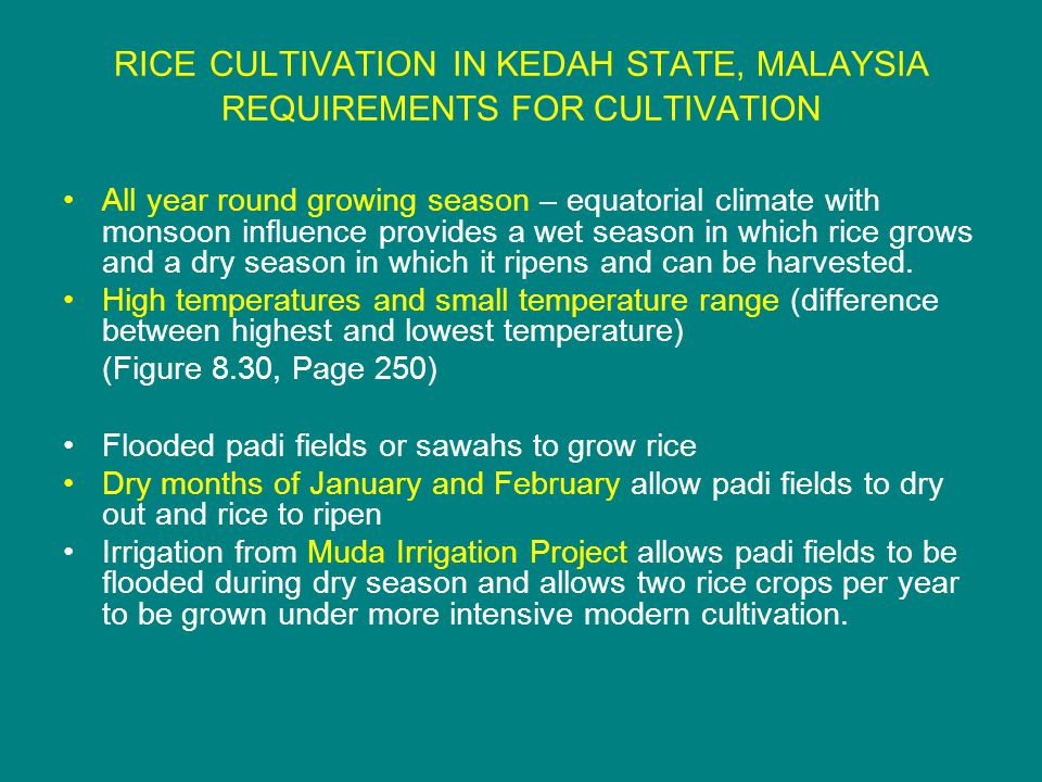 RICE CULTIVATION IN KEDAH STATE, MALAYSIA REQUIREMENTS FOR CULTIVATION All year round growing season – equatorial climate with monsoon influence provides a wet season in which rice grows and a dry season in which it ripens and can be harvested.