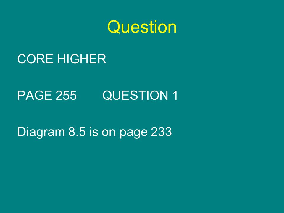 Question CORE HIGHER PAGE 255QUESTION 1 Diagram 8.5 is on page 233