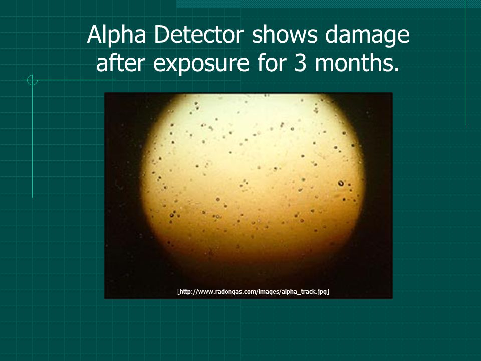 Alpha Detector shows damage after exposure for 3 months.