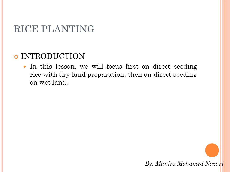 RICE PLANTING INTRODUCTION In this lesson, we will focus first on direct seeding rice with dry land preparation, then on direct seeding on wet land.