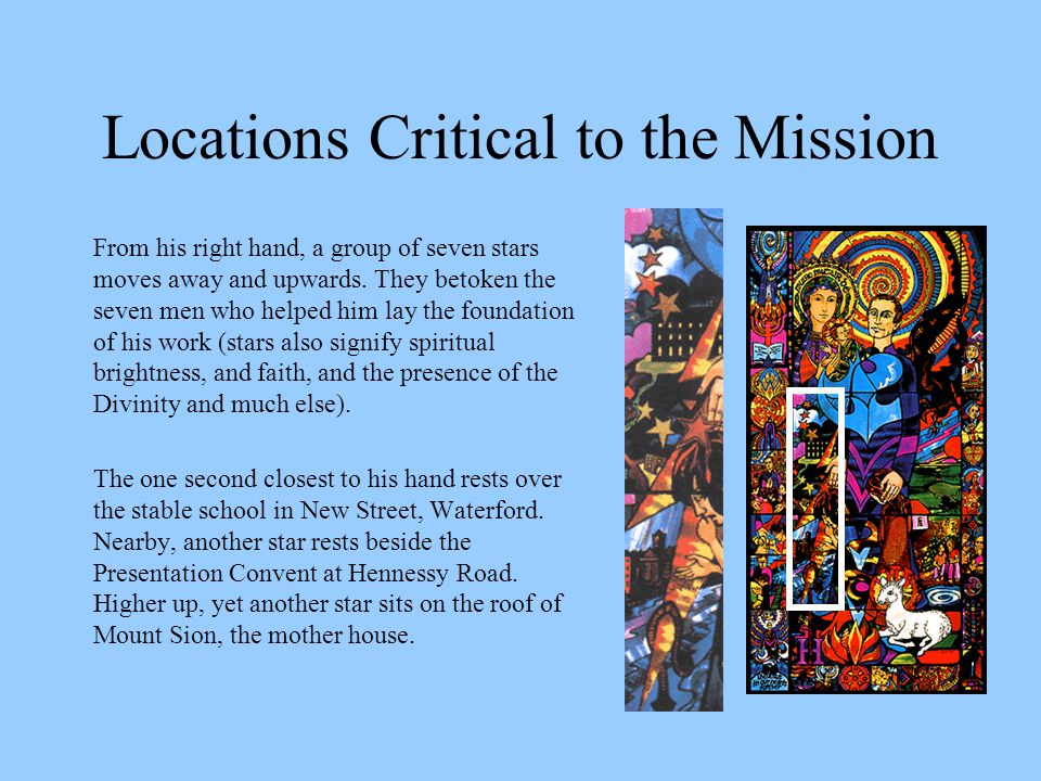 Locations Critical to the Mission From his right hand, a group of seven stars moves away and upwards.