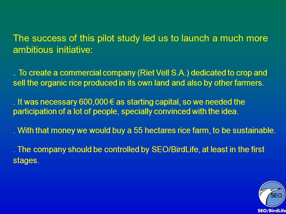 The success of this pilot study led us to launch a much more ambitious initiative:. To create a commercial company (Riet Vell S.A.) dedicated to crop