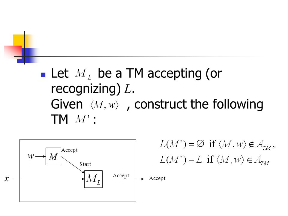 Letbe a TM accepting (or recognizing) L. Given, construct the following TM : M w Accept Start x