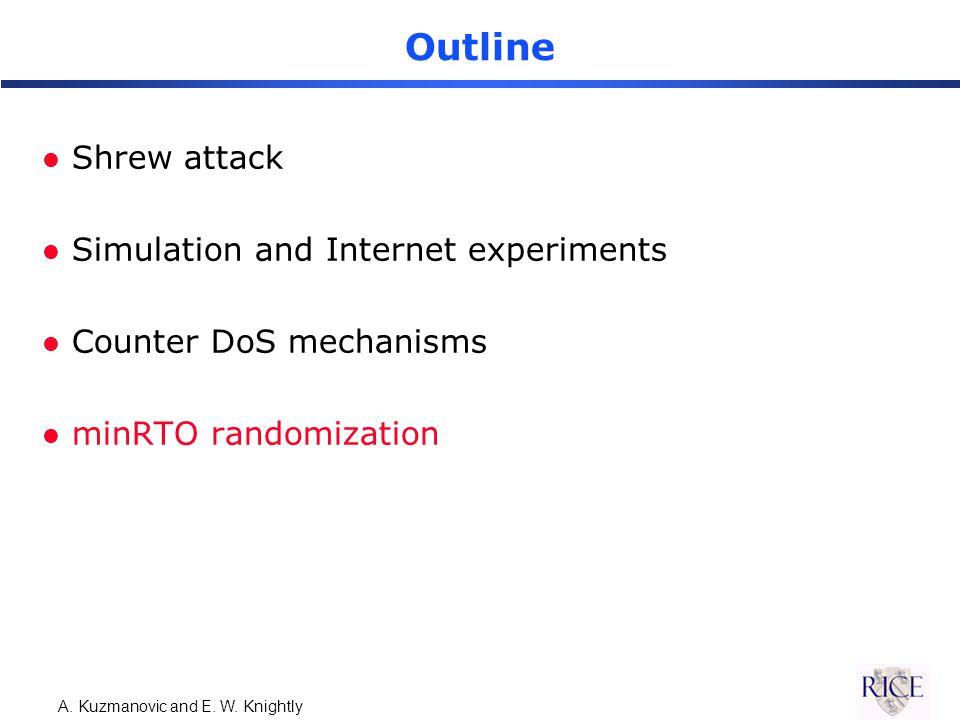 A. Kuzmanovic and E. W. Knightly Outline l Shrew attack l Simulation and Internet experiments l Counter DoS mechanisms l minRTO randomization