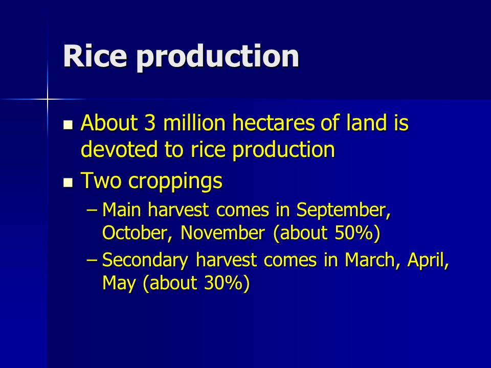 Rice production About 3 million hectares of land is devoted to rice production About 3 million hectares of land is devoted to rice production Two crop