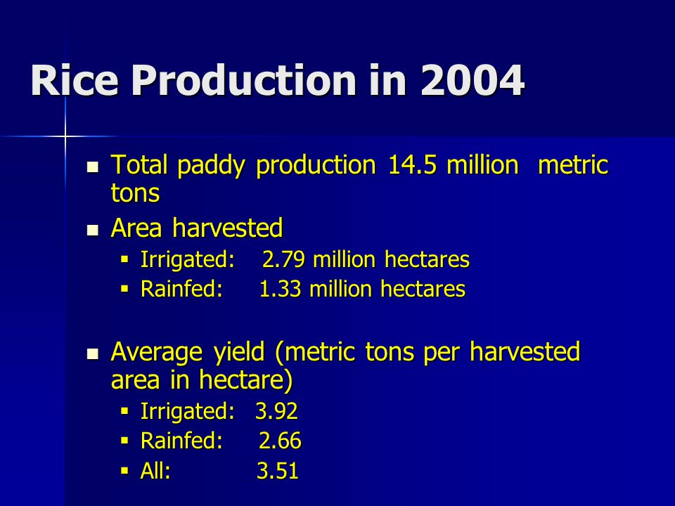 Total paddy production 14.5 million metric tons Total paddy production 14.5 million metric tons Area harvested Area harvested  Irrigated: 2.79 millio