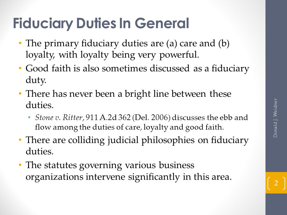 Effect of Partner's Dissociation on Fiduciary Duties (cont d) Revised Uniform Partnership Act § 603 (3) Section 404 (c) continue only with regard to matters arising and events occurring before the partner's dissociation, unless the partner participates in winding up the partnership's business pursuant to Section 803.
